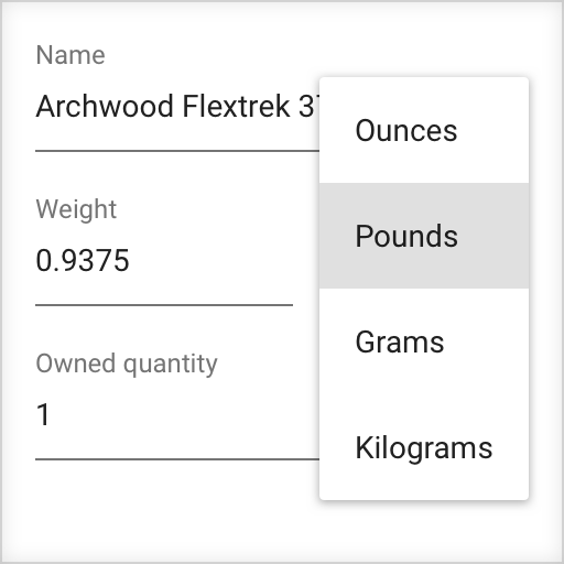 A sample weight input showing a menu for choosing the weight units you would like to use
