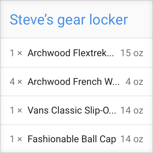 A sample product locker listing showing the quantities and weights of items someone may own
